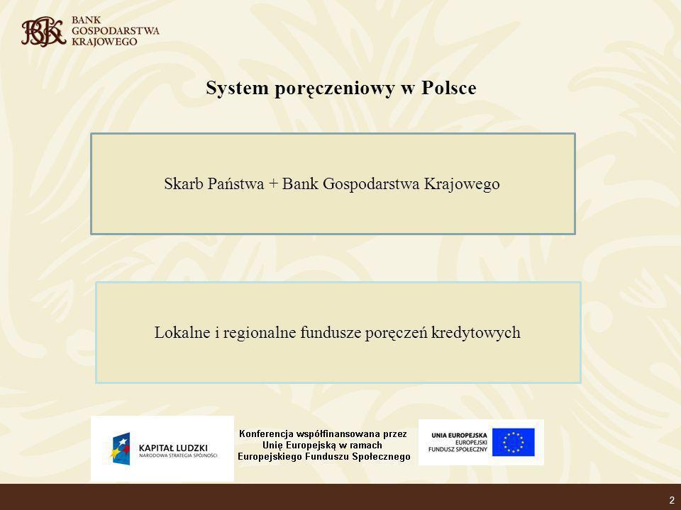 2 System poręczeniowy w Polsce Skarb Państwa + Bank Gospodarstwa Krajowego Lokalne i regionalne fundusze poręczeń kredytowych