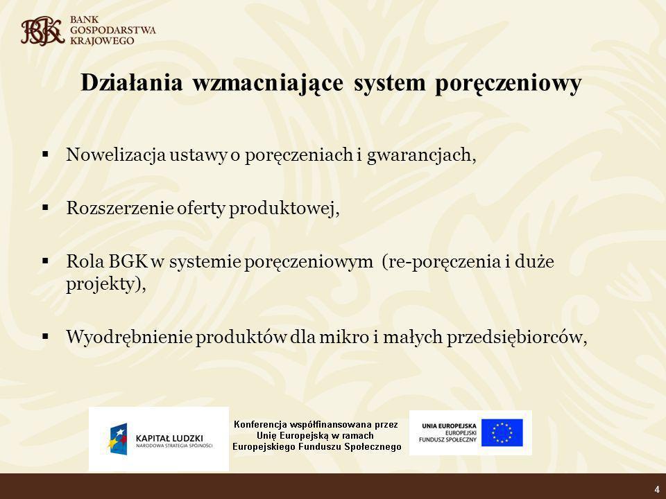 4 Działania wzmacniające system poręczeniowy Nowelizacja ustawy o poręczeniach i gwarancjach, Rozszerzenie oferty produktowej, Rola BGK w systemie poręczeniowym (re-poręczenia i duże projekty), Wyodrębnienie produktów dla mikro i małych przedsiębiorców,
