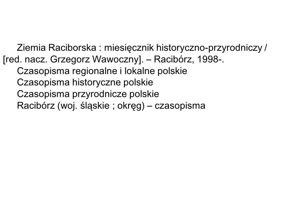 Ziemia Raciborska : miesięcznik historyczno-przyrodniczy / [red.