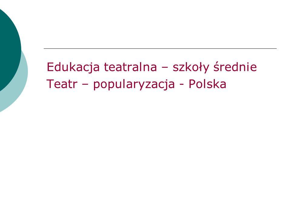 Edukacja teatralna – szkoły średnie Teatr – popularyzacja - Polska