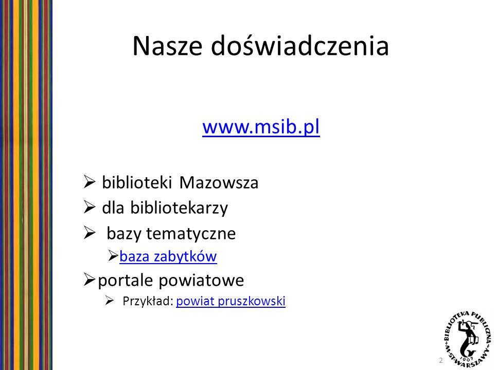 Nasze doświadczenia www.msib.pl biblioteki Mazowsza dla bibliotekarzy bazy tematyczne baza zabytków portale powiatowe Przykład: powiat pruszkowskipowi