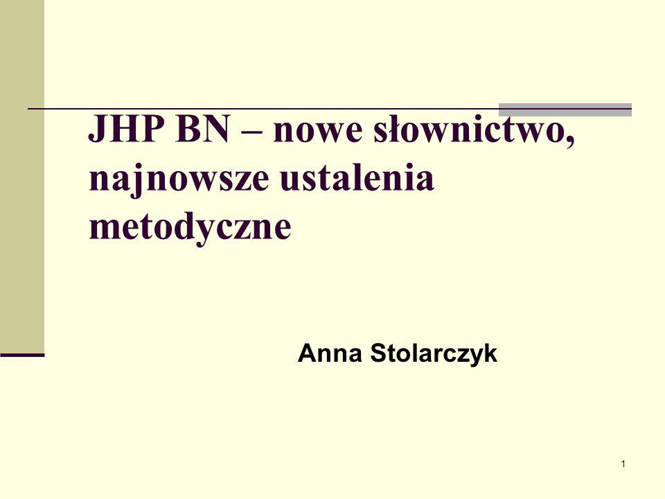 1 JHP BN – nowe słownictwo, najnowsze ustalenia metodyczne Anna Stolarczyk