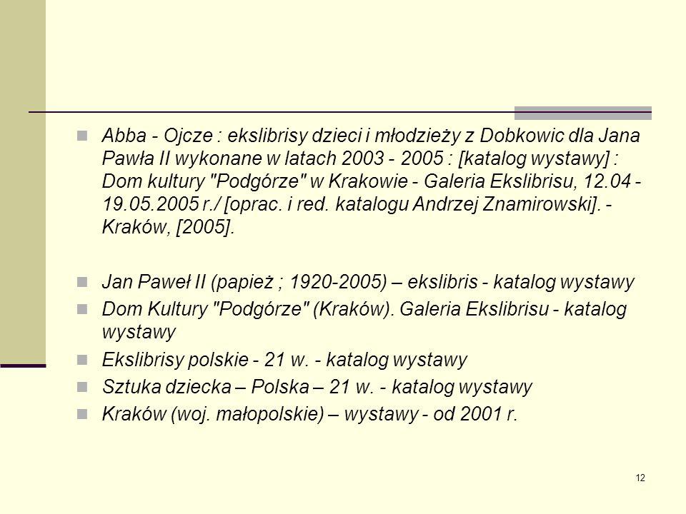 12 Abba - Ojcze : ekslibrisy dzieci i młodzieży z Dobkowic dla Jana Pawła II wykonane w latach 2003 - 2005 : [katalog wystawy] : Dom kultury