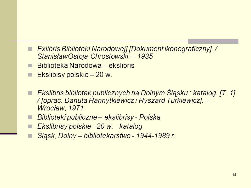 14 Exlibris Biblioteki Narodowej] [Dokument ikonograficzny] / StanisławOstoja-Chrostowski. – 1935 Biblioteka Narodowa – ekslibris Ekslibisy polskie –