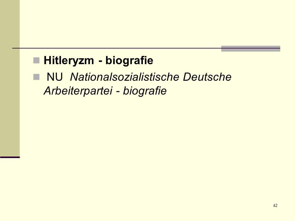 42 Hitleryzm - biografie NU Nationalsozialistische Deutsche Arbeiterpartei - biografie