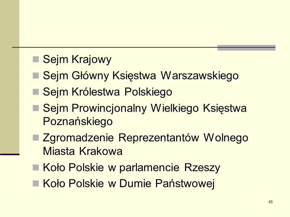 46 Sejm Krajowy Sejm Główny Księstwa Warszawskiego Sejm Królestwa Polskiego Sejm Prowincjonalny Wielkiego Księstwa Poznańskiego Zgromadzenie Reprezent