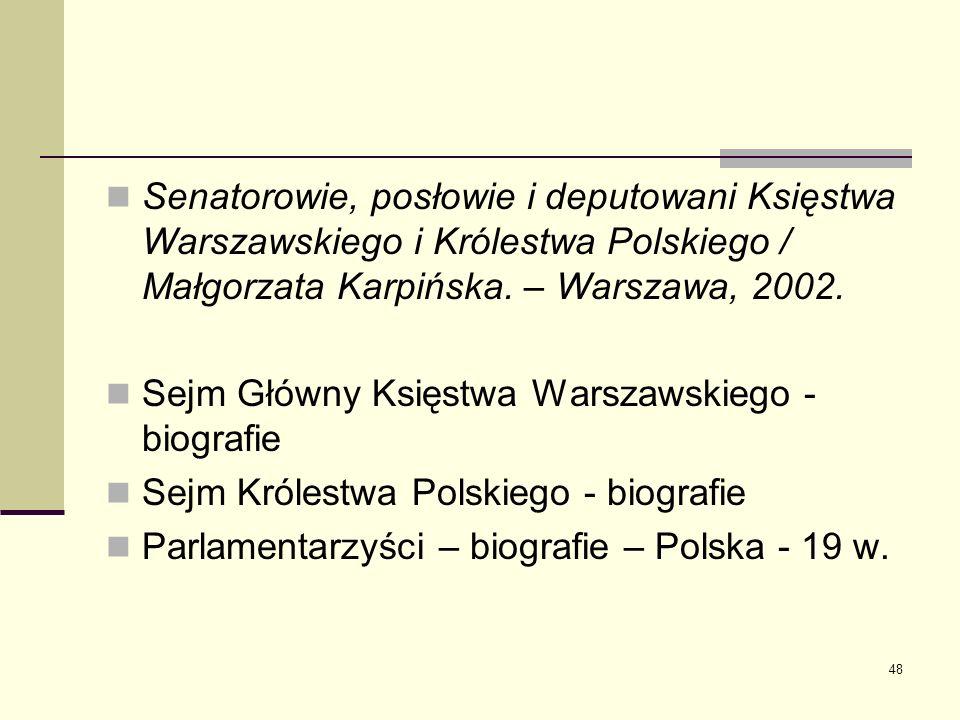 48 Senatorowie, posłowie i deputowani Księstwa Warszawskiego i Królestwa Polskiego / Małgorzata Karpińska. – Warszawa, 2002. Sejm Główny Księstwa Wars