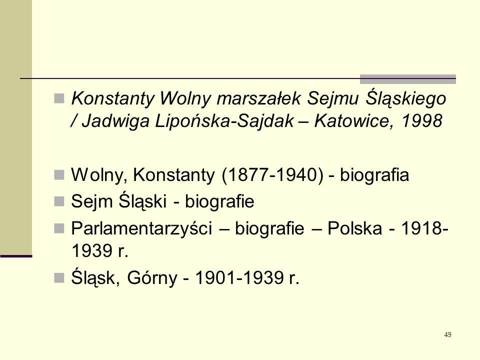 49 Konstanty Wolny marszałek Sejmu Śląskiego / Jadwiga Lipońska-Sajdak – Katowice, 1998 Wolny, Konstanty (1877-1940) - biografia Sejm Śląski - biograf