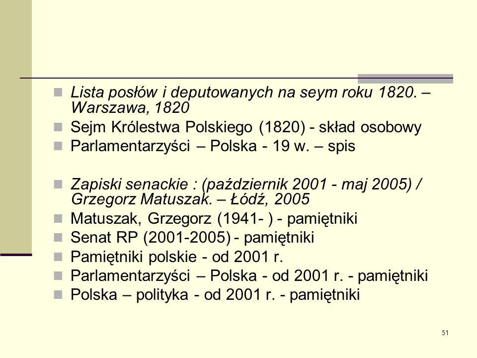 51 Lista posłów i deputowanych na seym roku 1820. – Warszawa, 1820 Sejm Królestwa Polskiego (1820) - skład osobowy Parlamentarzyści – Polska - 19 w. –