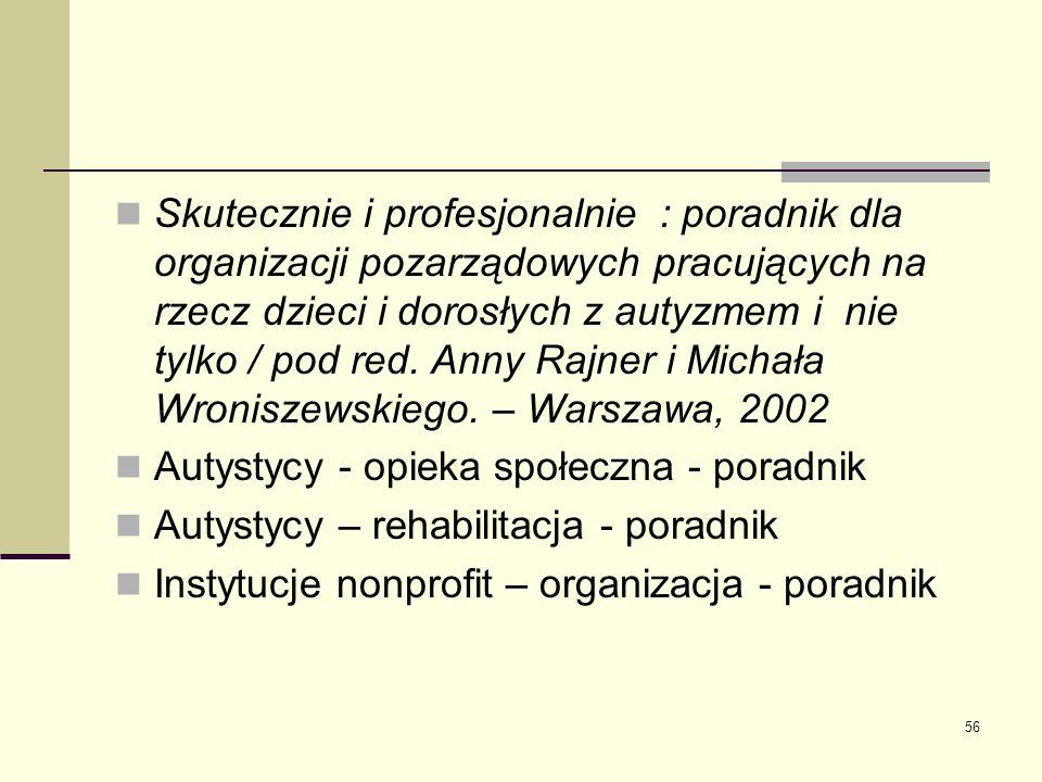 56 Skutecznie i profesjonalnie : poradnik dla organizacji pozarządowych pracujących na rzecz dzieci i dorosłych z autyzmem i nie tylko / pod red. Anny