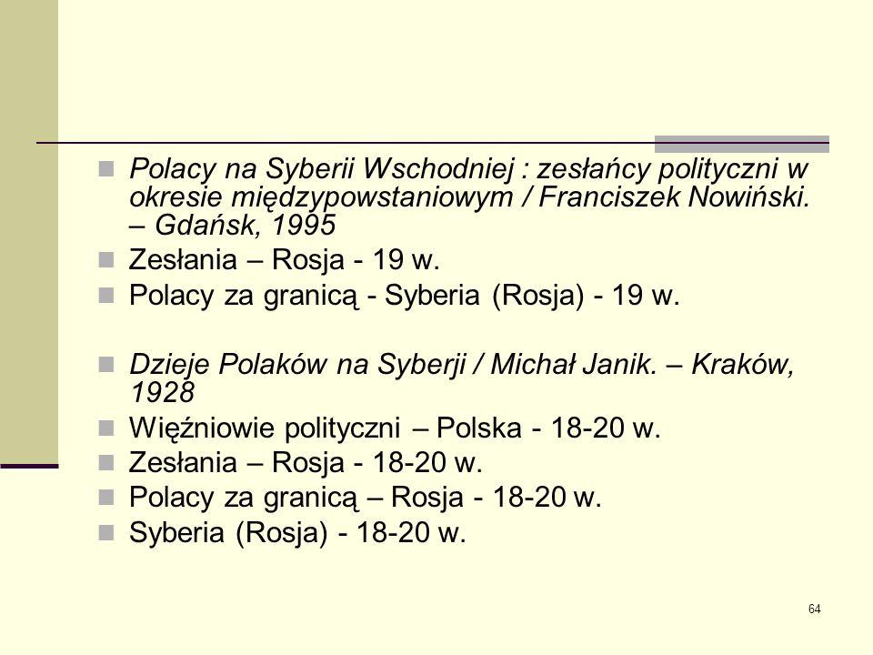 64 Polacy na Syberii Wschodniej : zesłańcy polityczni w okresie międzypowstaniowym / Franciszek Nowiński. – Gdańsk, 1995 Zesłania – Rosja - 19 w. Pola