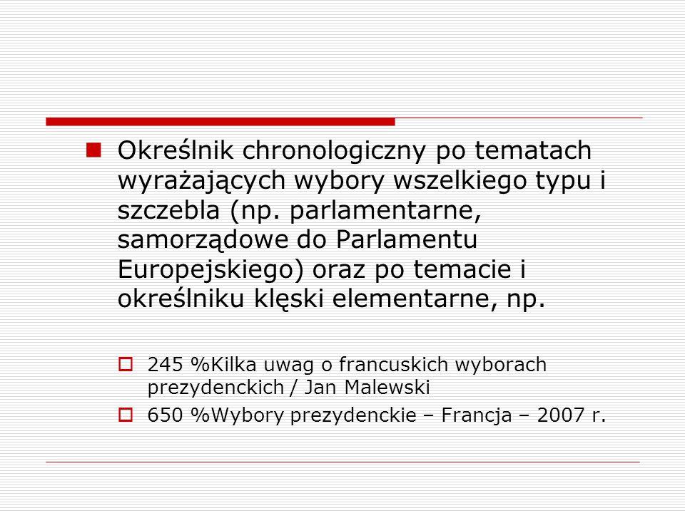Określnik chronologiczny po tematach wyrażających wybory wszelkiego typu i szczebla (np. parlamentarne, samorządowe do Parlamentu Europejskiego) oraz