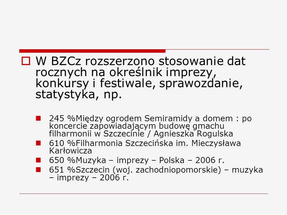 W BZCz rozszerzono stosowanie dat rocznych na określnik imprezy, konkursy i festiwale, sprawozdanie, statystyka, np. 245 %Między ogrodem Semiramidy a