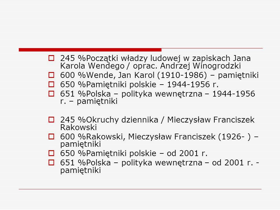 245 %Początki władzy ludowej w zapiskach Jana Karola Wendego / oprac. Andrzej Winogrodzki 600 %Wende, Jan Karol (1910-1986) – pamiętniki 650 %Pamiętni