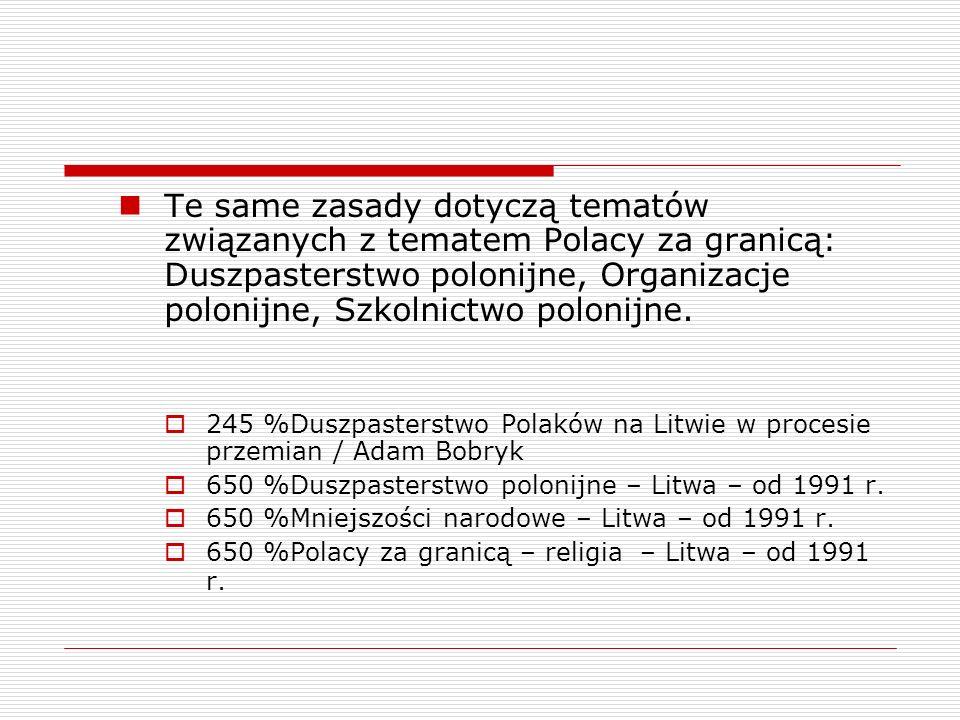 Te same zasady dotyczą tematów związanych z tematem Polacy za granicą: Duszpasterstwo polonijne, Organizacje polonijne, Szkolnictwo polonijne. 245 %Du
