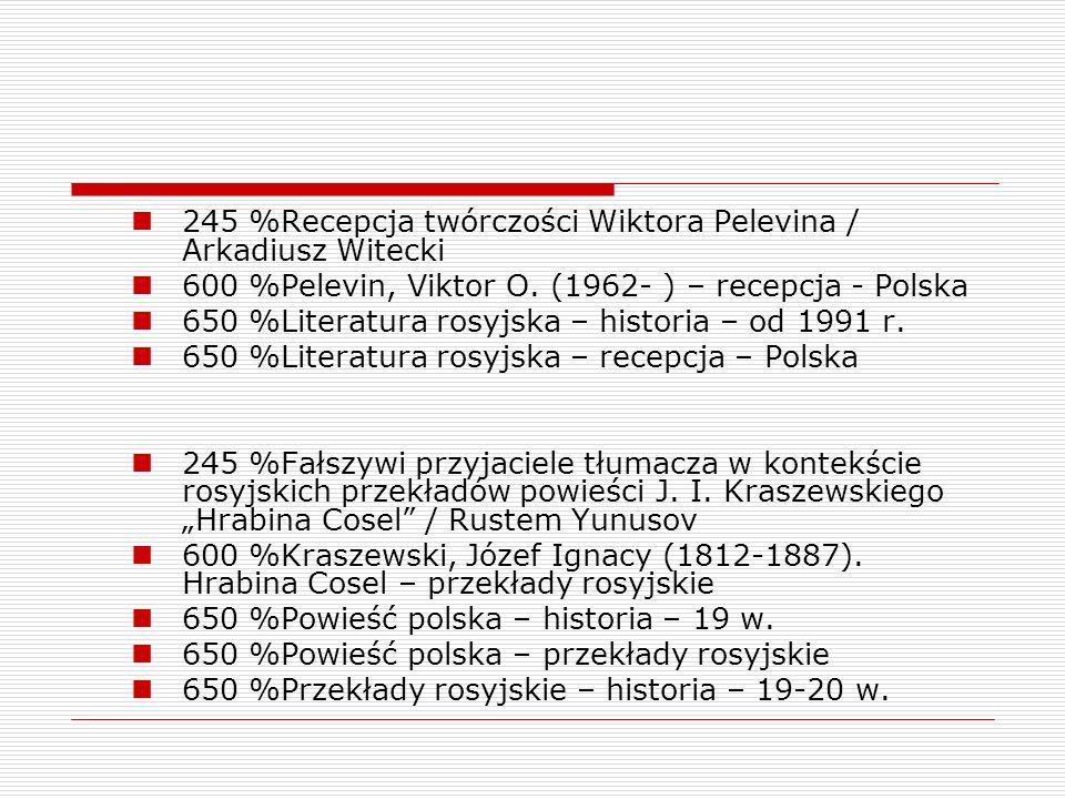 245 %Recepcja twórczości Wiktora Pelevina / Arkadiusz Witecki 600 %Pelevin, Viktor O. (1962- ) – recepcja - Polska 650 %Literatura rosyjska – historia