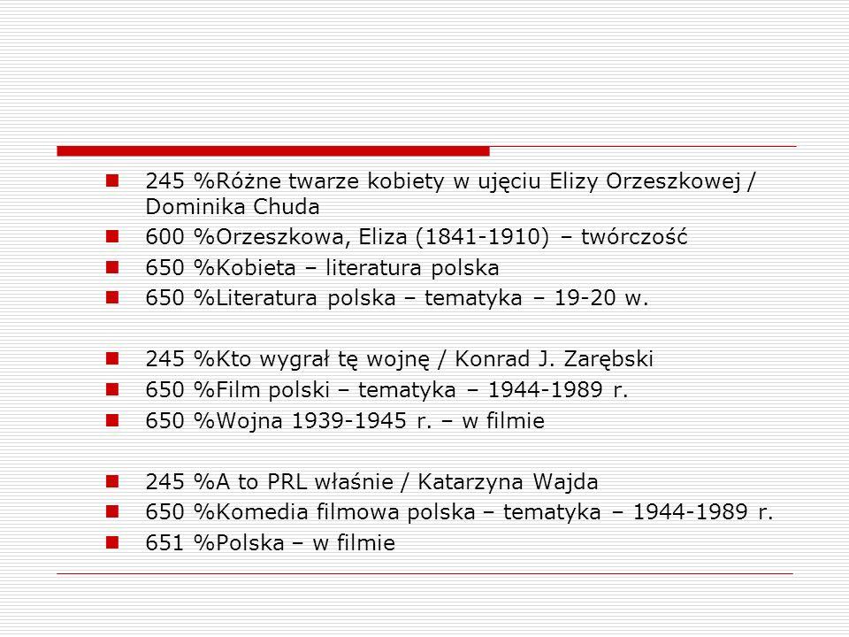 245 %Różne twarze kobiety w ujęciu Elizy Orzeszkowej / Dominika Chuda 600 %Orzeszkowa, Eliza (1841-1910) – twórczość 650 %Kobieta – literatura polska