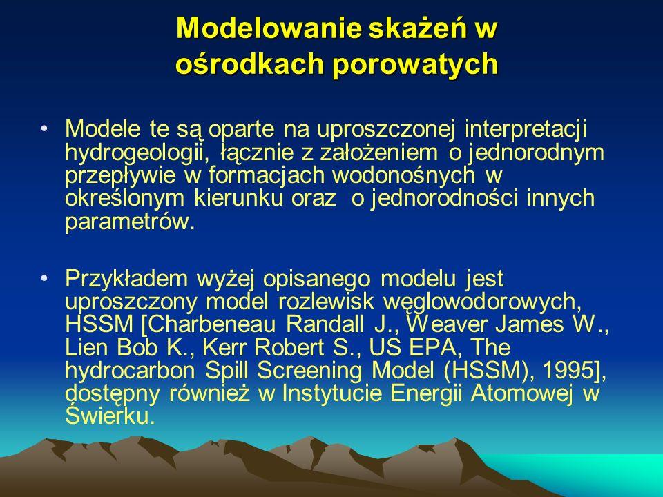 Modelowanie skażeń w ośrodkach porowatych Modele te są oparte na uproszczonej interpretacji hydrogeologii, łącznie z założeniem o jednorodnym przepływ