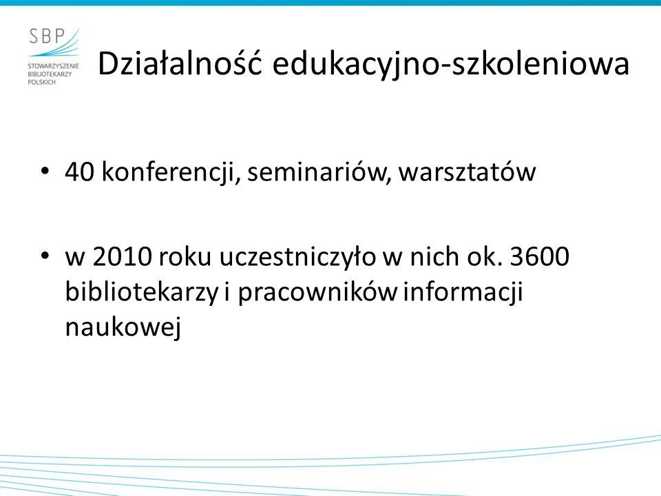 Działalność edukacyjno-szkoleniowa 40 konferencji, seminariów, warsztatów w 2010 roku uczestniczyło w nich ok. 3600 bibliotekarzy i pracowników inform