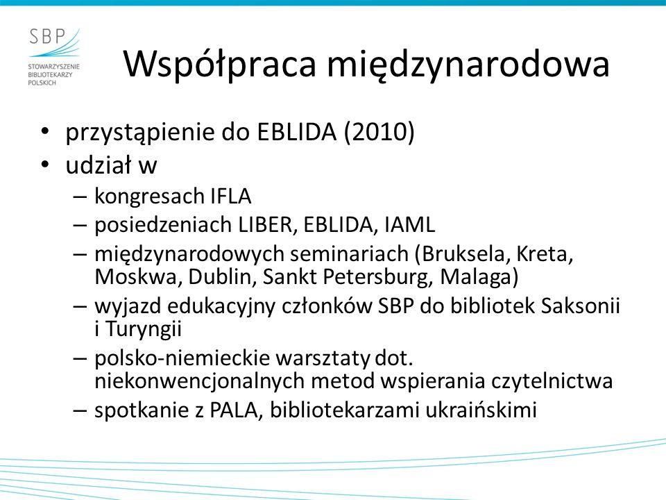 Współpraca międzynarodowa przystąpienie do EBLIDA (2010) udział w – kongresach IFLA – posiedzeniach LIBER, EBLIDA, IAML – międzynarodowych seminariach