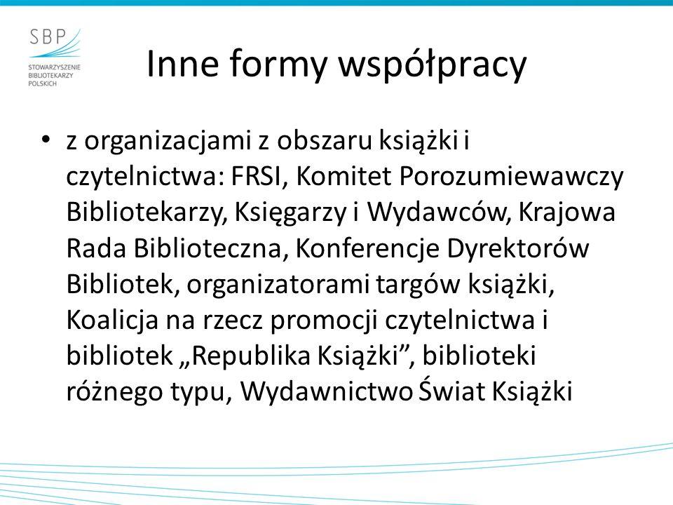 Inne formy współpracy z organizacjami z obszaru książki i czytelnictwa: FRSI, Komitet Porozumiewawczy Bibliotekarzy, Księgarzy i Wydawców, Krajowa Rad