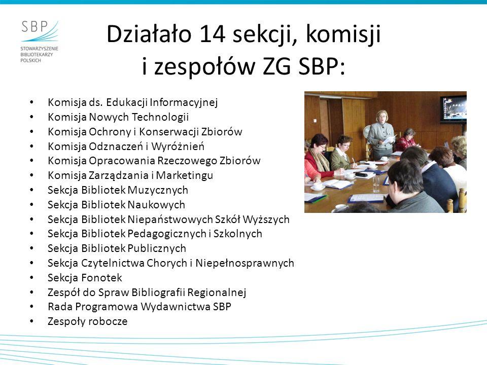 Działało 14 sekcji, komisji i zespołów ZG SBP: Komisja ds. Edukacji Informacyjnej Komisja Nowych Technologii Komisja Ochrony i Konserwacji Zbiorów Kom