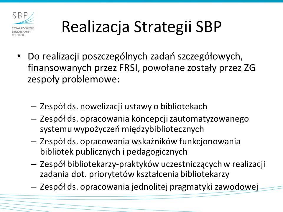 Realizacja Strategii SBP Do realizacji poszczególnych zadań szczegółowych, finansowanych przez FRSI, powołane zostały przez ZG zespoły problemowe: – Zespół ds.