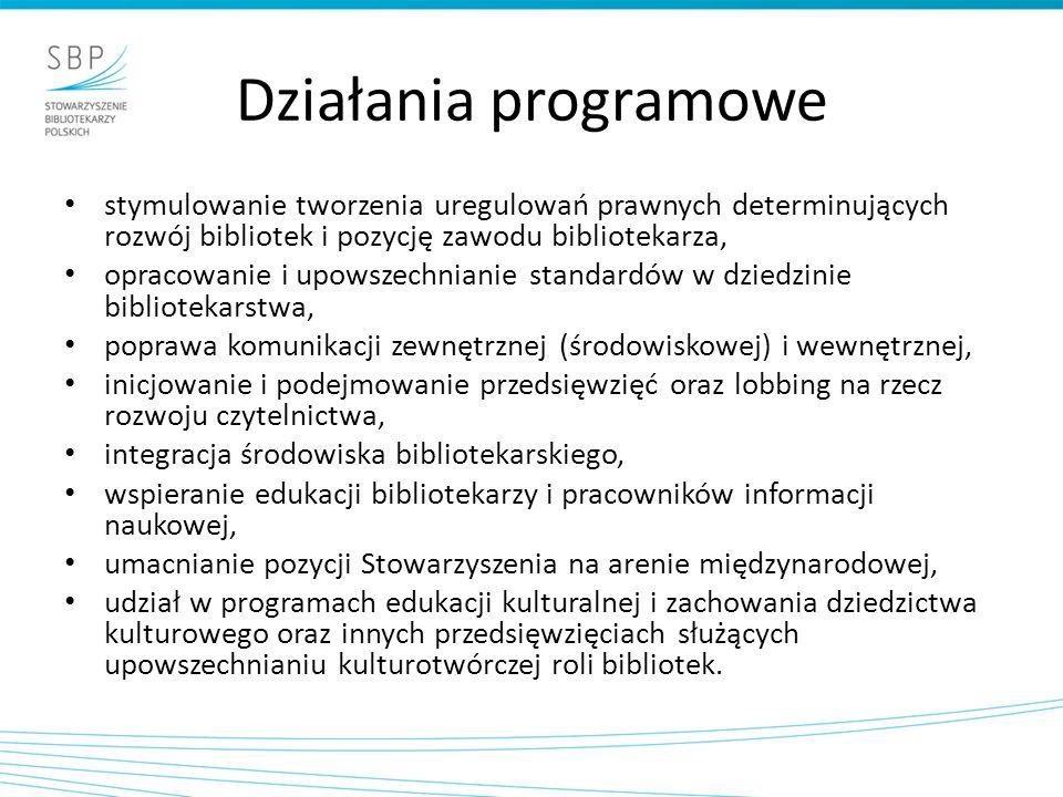 Działania programowe stymulowanie tworzenia uregulowań prawnych determinujących rozwój bibliotek i pozycję zawodu bibliotekarza, opracowanie i upowszechnianie standardów w dziedzinie bibliotekarstwa, poprawa komunikacji zewnętrznej (środowiskowej) i wewnętrznej, inicjowanie i podejmowanie przedsięwzięć oraz lobbing na rzecz rozwoju czytelnictwa, integracja środowiska bibliotekarskiego, wspieranie edukacji bibliotekarzy i pracowników informacji naukowej, umacnianie pozycji Stowarzyszenia na arenie międzynarodowej, udział w programach edukacji kulturalnej i zachowania dziedzictwa kulturowego oraz innych przedsięwzięciach służących upowszechnianiu kulturotwórczej roli bibliotek.