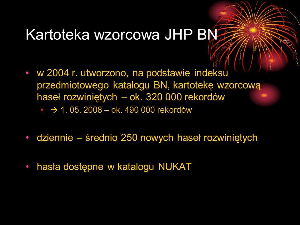 Kartoteka wzorcowa JHP BN w 2004 r. utworzono, na podstawie indeksu przedmiotowego katalogu BN, kartotekę wzorcową haseł rozwiniętych – ok. 320 000 re