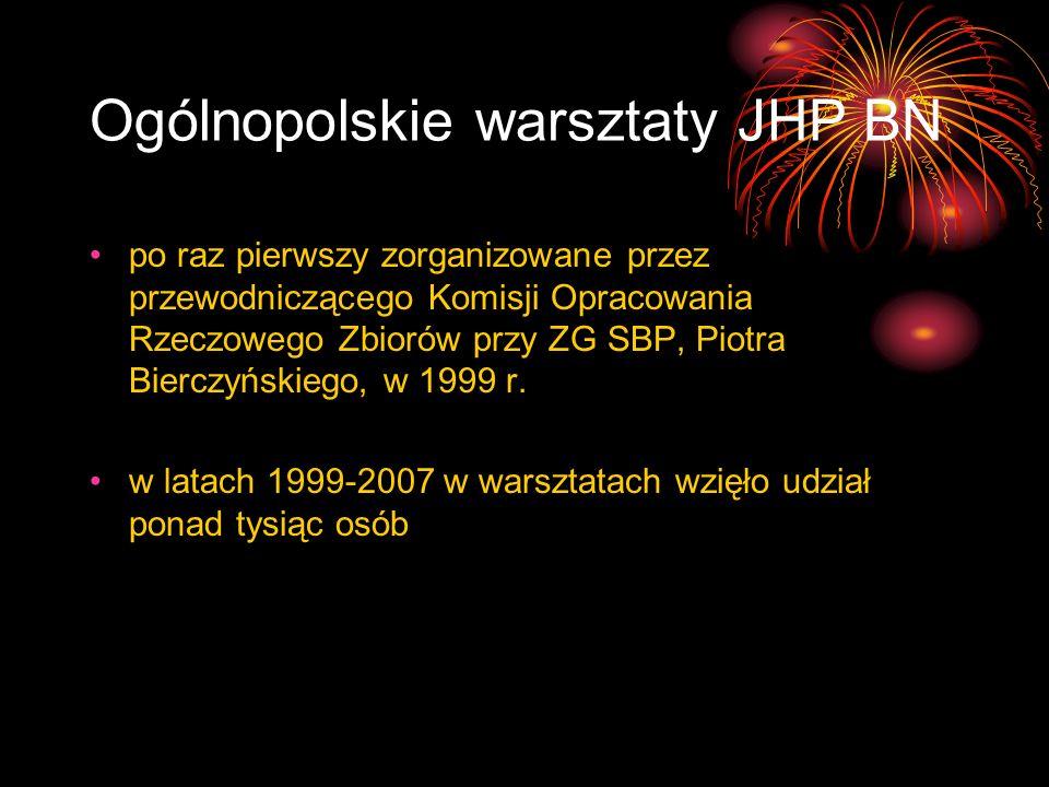 Ogólnopolskie warsztaty JHP BN po raz pierwszy zorganizowane przez przewodniczącego Komisji Opracowania Rzeczowego Zbiorów przy ZG SBP, Piotra Bierczy