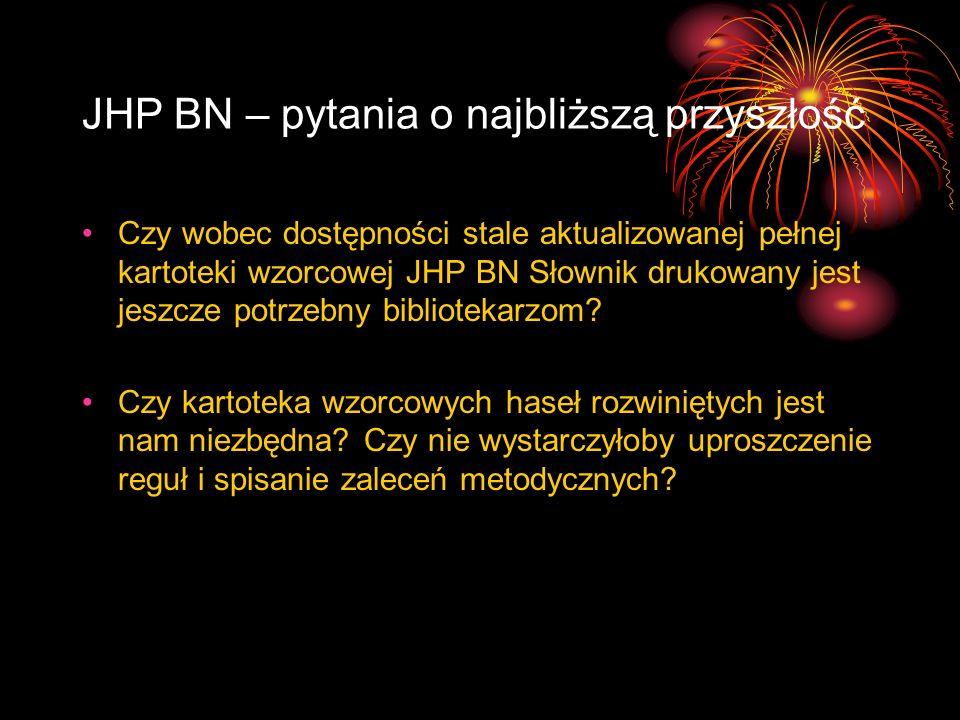 JHP BN – pytania o najbliższą przyszłość Czy wobec dostępności stale aktualizowanej pełnej kartoteki wzorcowej JHP BN Słownik drukowany jest jeszcze p