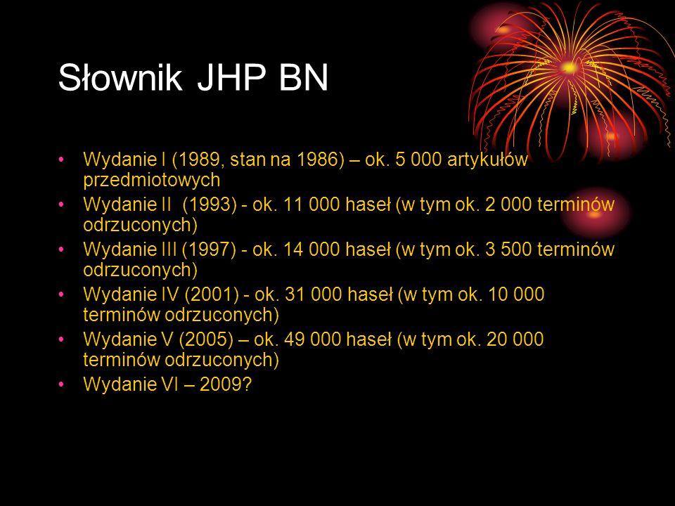 Słownik JHP BN Wydanie I (1989, stan na 1986) – ok. 5 000 artykułów przedmiotowych Wydanie II (1993) - ok. 11 000 haseł (w tym ok. 2 000 terminów odrz
