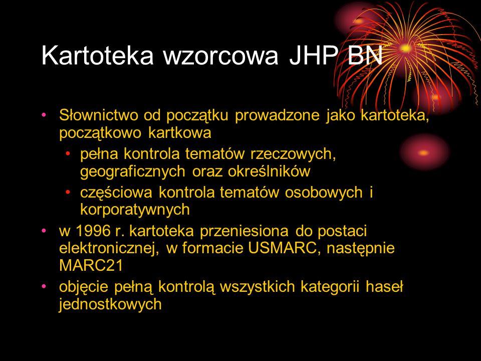 Kartoteka wzorcowa JHP BN Słownictwo od początku prowadzone jako kartoteka, początkowo kartkowa pełna kontrola tematów rzeczowych, geograficznych oraz