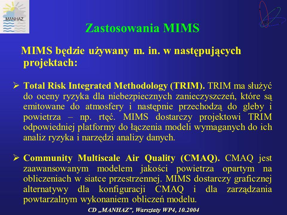 CD MANHAZ, Warsztaty WP4, 10.2004 Zastosowania MIMS MIMS będzie używany m.