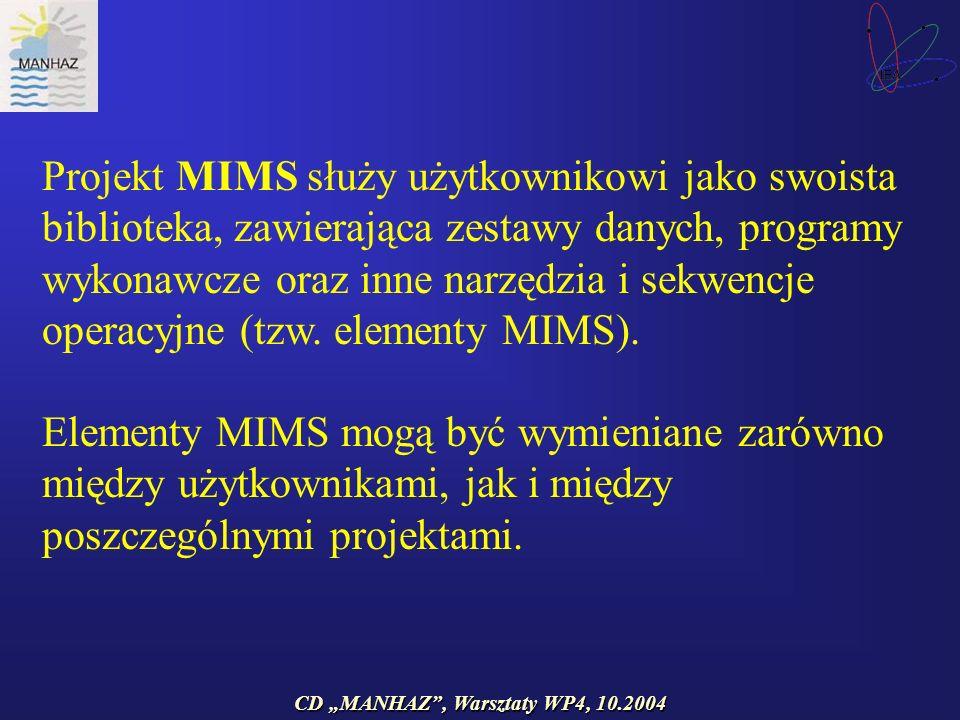 CD MANHAZ, Warsztaty WP4, 10.2004 Projekt MIMS służy użytkownikowi jako swoista biblioteka, zawierająca zestawy danych, programy wykonawcze oraz inne narzędzia i sekwencje operacyjne (tzw.