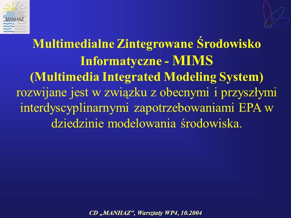 CD MANHAZ, Warsztaty WP4, 10.2004 Multimedialne Zintegrowane Środowisko Informatyczne - MIMS (Multimedia Integrated Modeling System) rozwijane jest w związku z obecnymi i przyszłymi interdyscyplinarnymi zapotrzebowaniami EPA w dziedzinie modelowania środowiska.