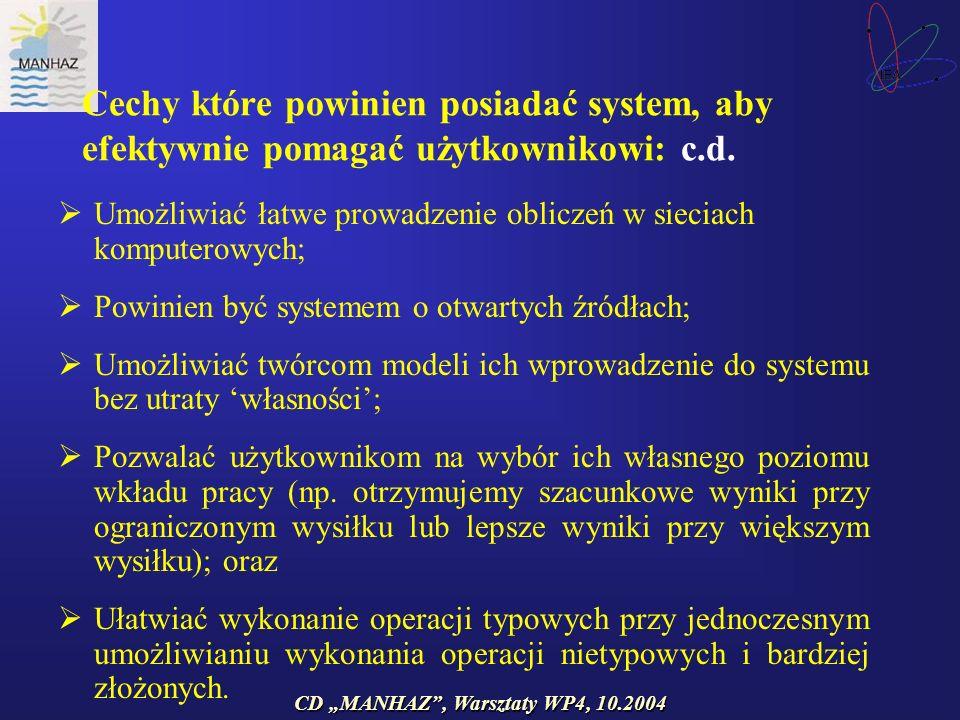 CD MANHAZ, Warsztaty WP4, 10.2004 Cechy które powinien posiadać system, aby efektywnie pomagać użytkownikowi: c.d.