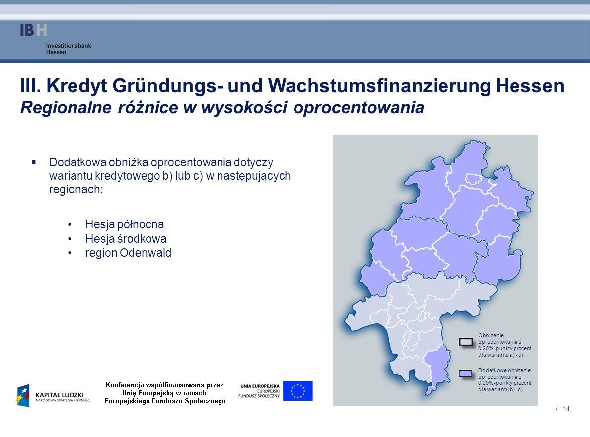 / 14 III. Kredyt Gründungs- und Wachstumsfinanzierung Hessen Regionalne różnice w wysokości oprocentowania Dodatkowa obniżka oprocentowania dotyczy wa