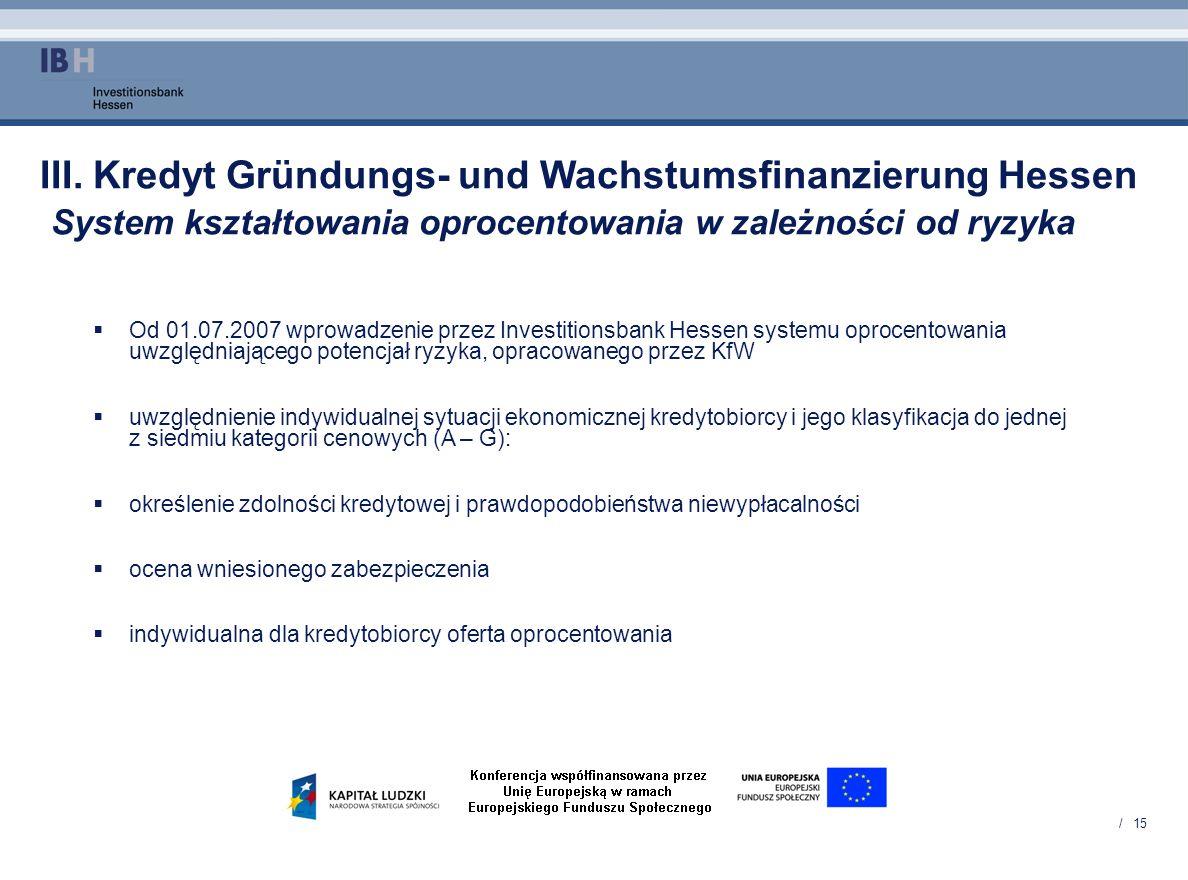 / 15 III. Kredyt Gründungs- und Wachstumsfinanzierung Hessen System kształtowania oprocentowania w zależności od ryzyka Od 01.07.2007 wprowadzenie prz