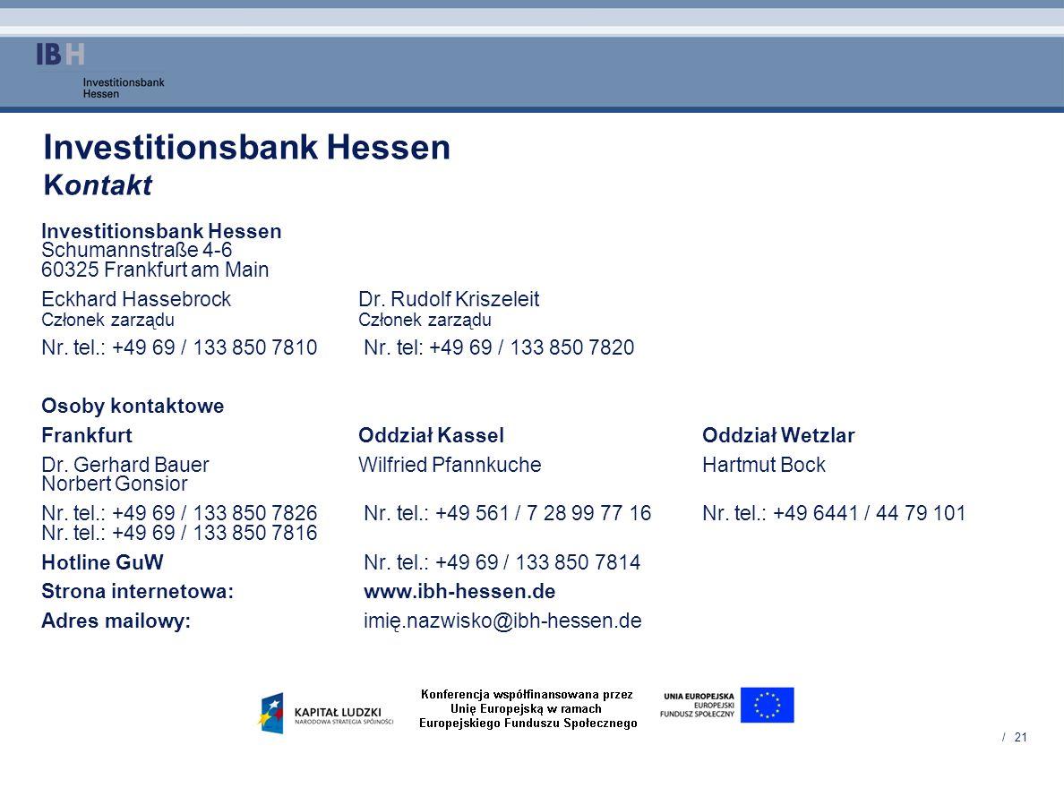 / 21 Investitionsbank Hessen Kontakt Investitionsbank Hessen Schumannstraße 4-6 60325 Frankfurt am Main Eckhard HassebrockDr. Rudolf Kriszeleit Człone