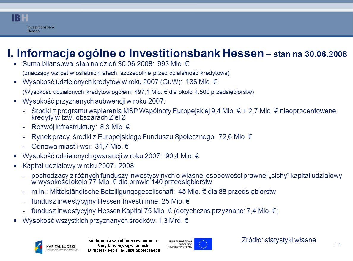 / 4 I. Informacje ogólne o Investitionsbank Hessen – stan na 30.06.2008 Suma bilansowa, stan na dzień 30.06.2008: 993 Mio. (znaczący wzrost w ostatnic