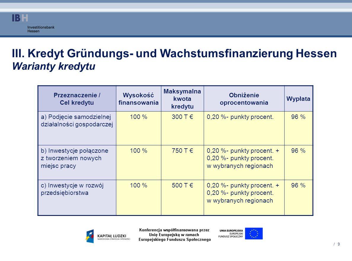/ 9 III. Kredyt Gründungs- und Wachstumsfinanzierung Hessen Warianty kredytu Przeznaczenie / Cel kredytu Wysokość finansowania Maksymalna kwota kredyt