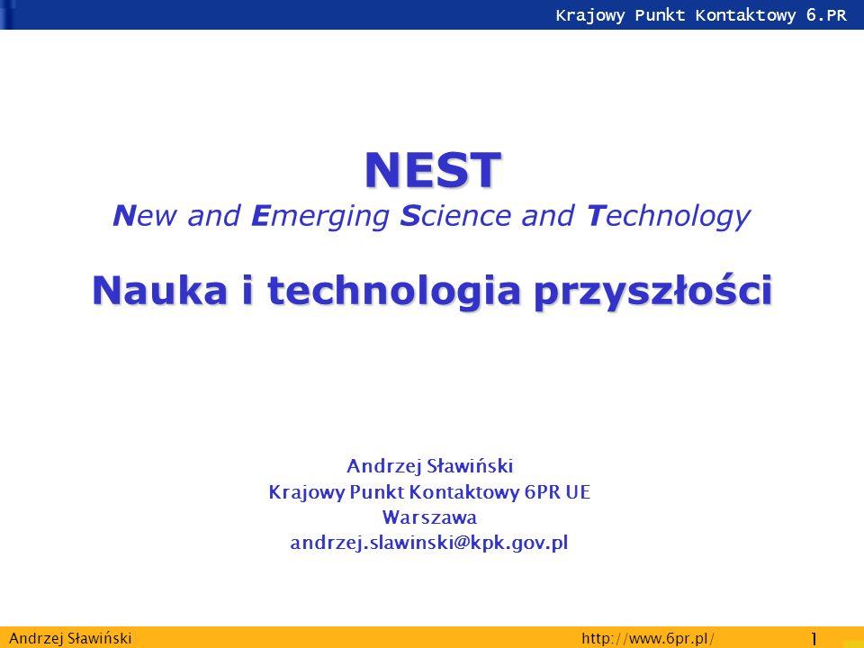 Krajowy Punkt Kontaktowy 6.PR http://www.6pr.pl/ 1 Andrzej Sławiński NEST Nauka i technologia przyszłości NEST New and Emerging Science and Technology