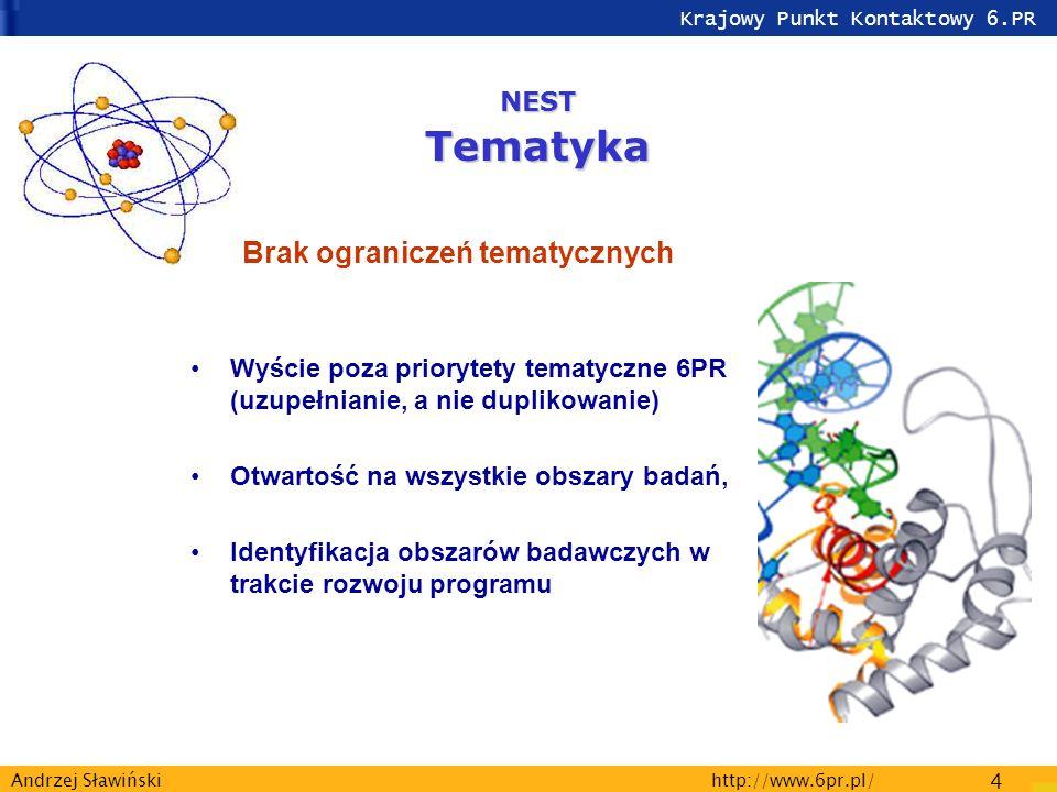 Krajowy Punkt Kontaktowy 6.PR http://www.6pr.pl/ 4 Andrzej Sławiński Brak ograniczeń tematycznych Wyście poza priorytety tematyczne 6PR (uzupełnianie,
