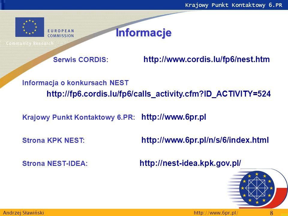 Krajowy Punkt Kontaktowy 6.PR http://www.6pr.pl/ 8 Andrzej Sławiński Informacje Serwis CORDIS: http://www.cordis.lu/fp6/nest.htm Informacja o konkursach NEST http://fp6.cordis.lu/fp6/calls_activity.cfm ID_ACTIVITY=524 Krajowy Punkt Kontaktowy 6.PR: http://www.6pr.pl Strona KPK NEST: http://www.6pr.pl/n/s/6/index.html Strona NEST-IDEA: http://nest-idea.kpk.gov.pl/