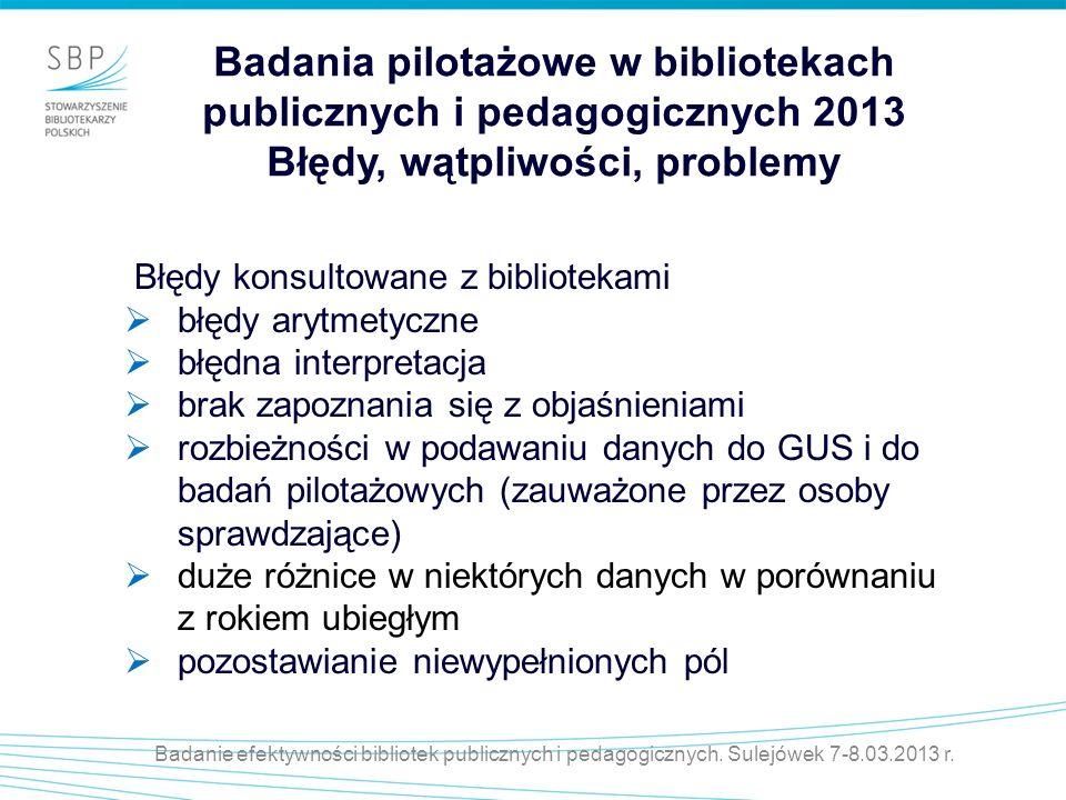 Badania pilotażowe w bibliotekach publicznych i pedagogicznych 2013 Błędy, wątpliwości, problemy Błędy konsultowane z bibliotekami błędy arytmetyczne