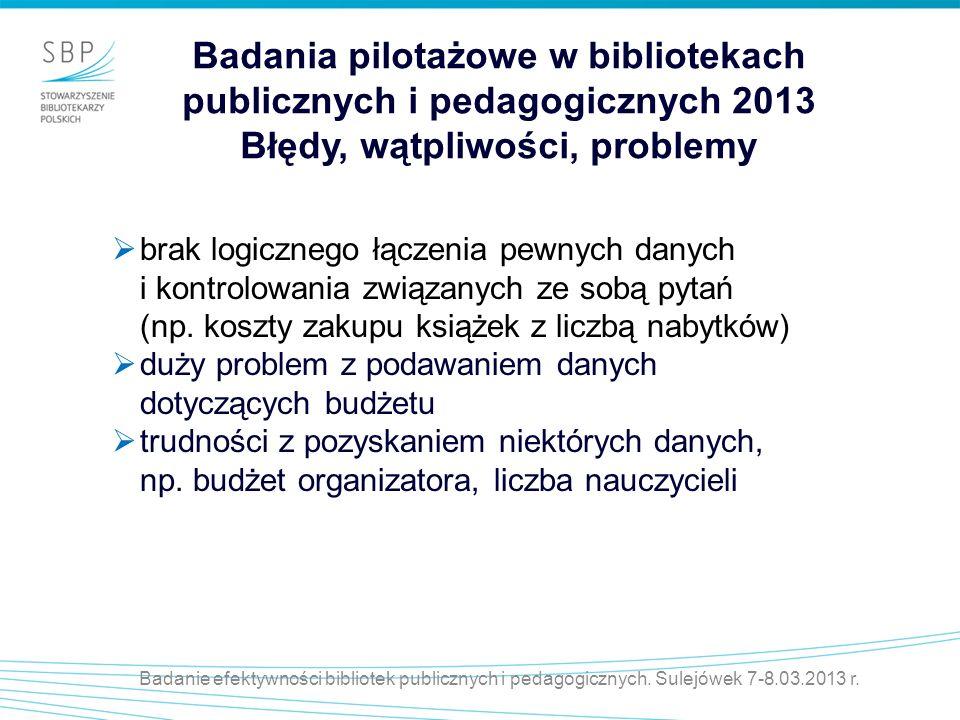 Badanie efektywności bibliotek publicznych i pedagogicznych. Sulejówek 7-8.03.2013 r. Badania pilotażowe w bibliotekach publicznych i pedagogicznych 2