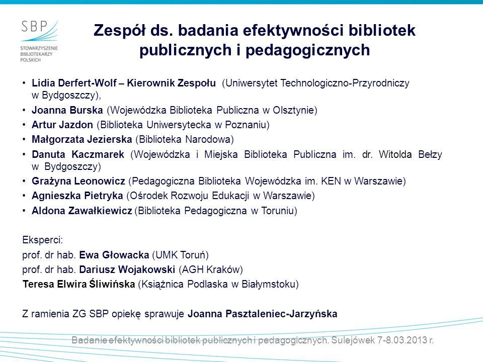 Zespół ds. badania efektywności bibliotek publicznych i pedagogicznych Lidia Derfert-Wolf – Kierownik Zespołu (Uniwersytet Technologiczno-Przyrodniczy