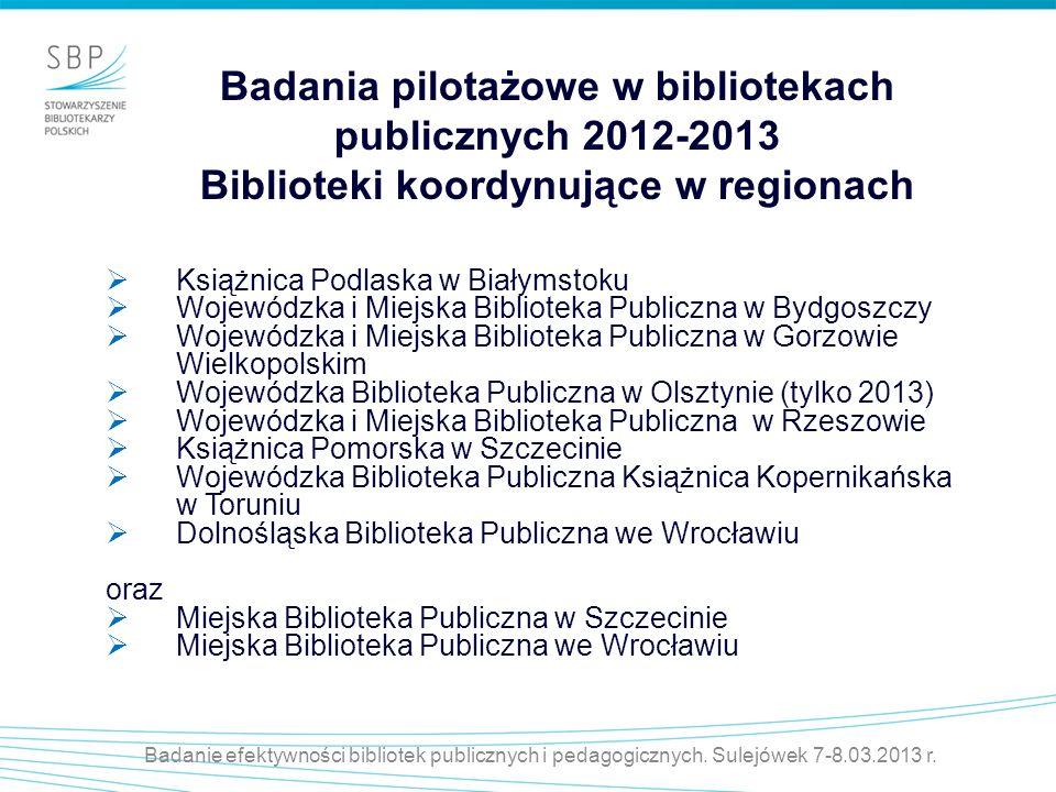 Badanie efektywności bibliotek publicznych i pedagogicznych. Sulejówek 7-8.03.2013 r. Badania pilotażowe w bibliotekach publicznych 2012-2013 Bibliote