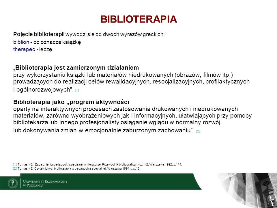 3 BIBLIOTERAPIA Biblioterapia rozumiana jako dyscyplina naukowa, która zajmuje się badaniem funkcjonowania człowieka chorego, niepełnosprawnego jako czytelnika oraz badaniem jego związków z różnego rodzaju tekstami upowszechnianymi za pomocą słowa drukowanego lub przekazu mówionego (…).